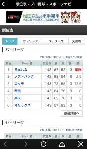 「スポナビ プロ野球速報2016」の使い方8